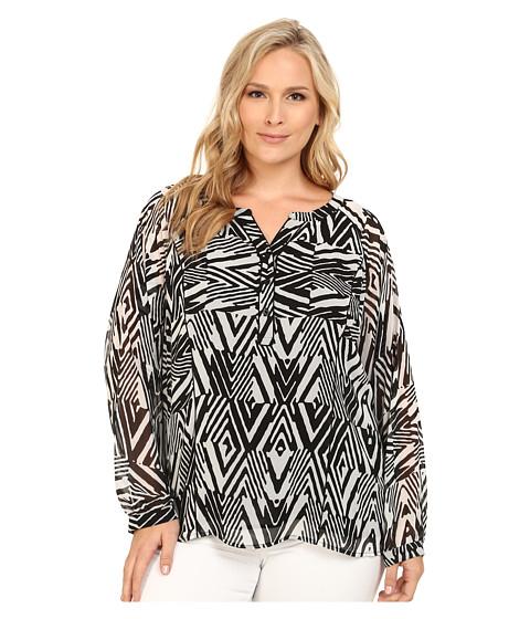 Calvin Klein Plus - Plus Size Long Sleeve Peasant Blouse (Black Peak) Women