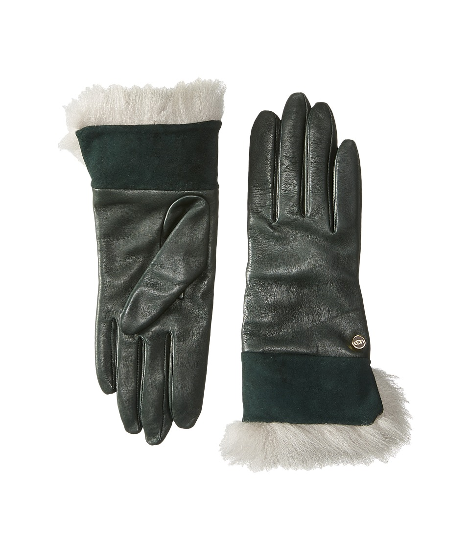 UGG - Quinn Glove with Toscana Trim (Black Pine) Dress Gloves