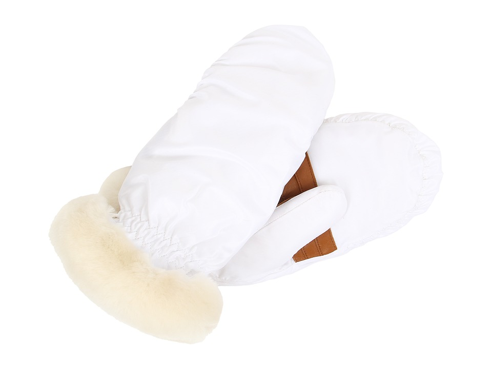 UGG - Non-Quilted Fabric Mitten (White Multi) Extreme Cold Weather Gloves