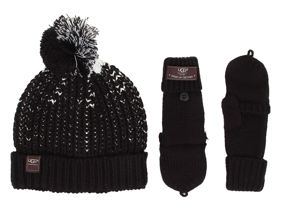 UGG Kids - Cardy Block Hat and Flip Mitten Set (Black Multi) Cold Weather Hats