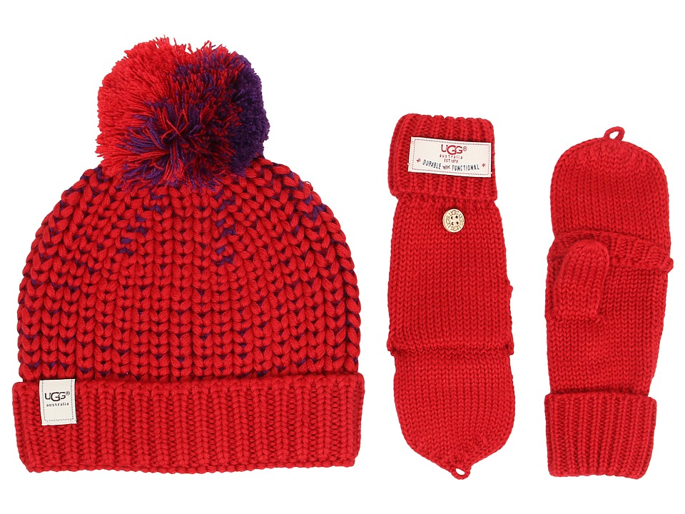 UGG Kids - Cardy Block Hat and Flip Mitten Set (Scarlett Multi) Cold Weather Hats