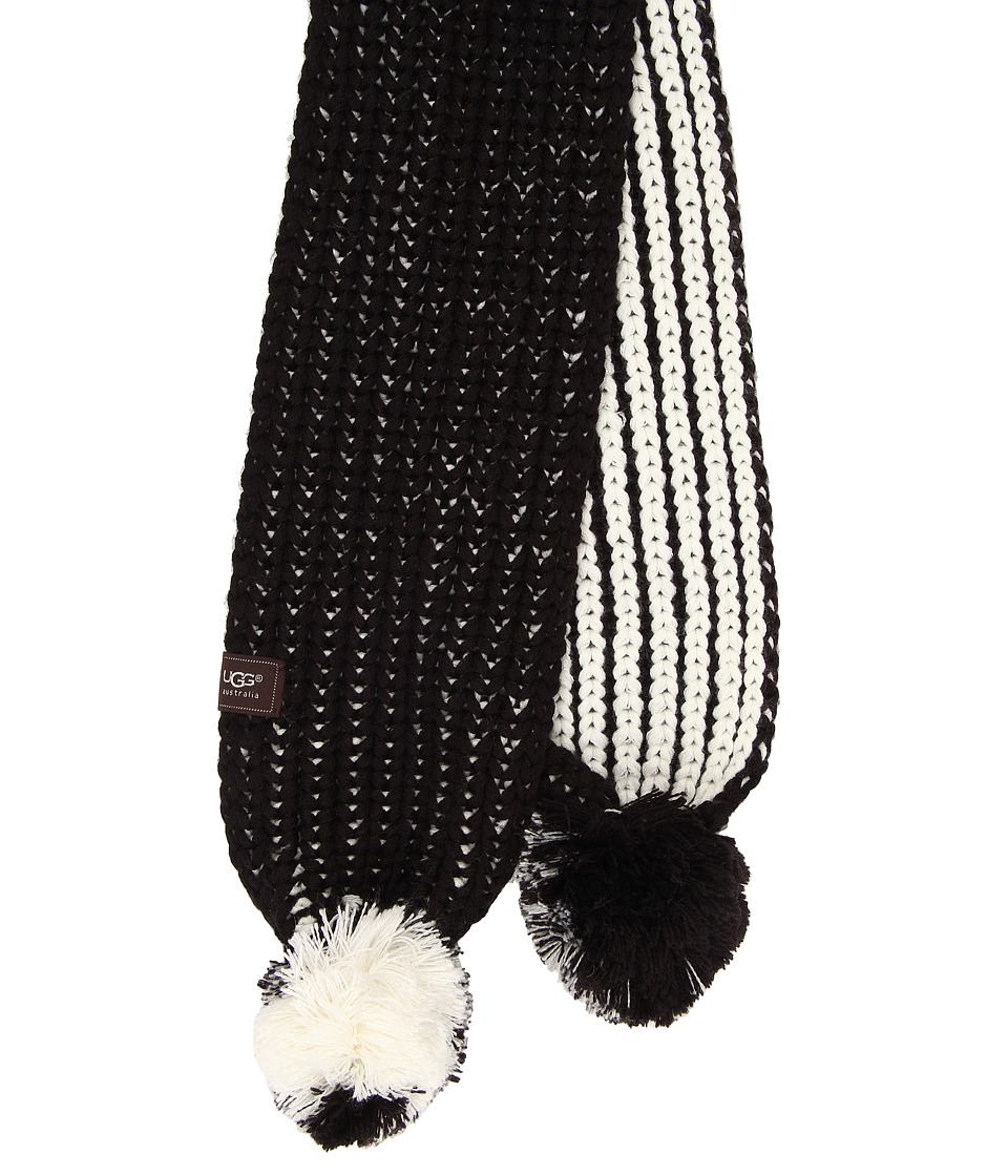 UGG Kids - Reversible Cardy Pom Scarf (Black Multi) Scarves