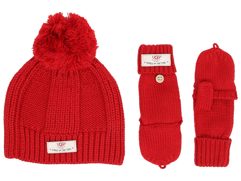 UGG Kids - Mclain Ribbed Beanie and Flip Mitten Set (Scarlett) Knit Hats