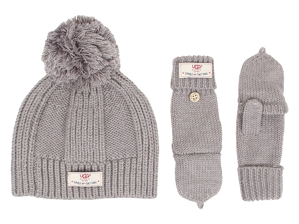 UGG Kids - Mclain Ribbed Beanie and Flip Mitten Set (Grey) Knit Hats