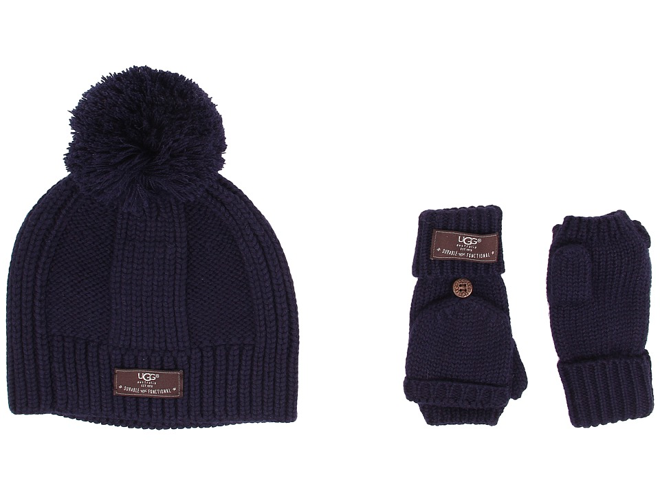UGG Kids - Mclain Ribbed Beanie and Flip Mitten Set (Peacoat) Knit Hats