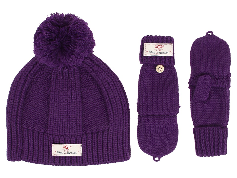 UGG Kids - Mclain Ribbed Beanie and Flip Mitten Set (Bilberry) Knit Hats