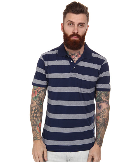 Gant Rugger - R. Stripe Polo (Navy) Men's Short Sleeve Pullover