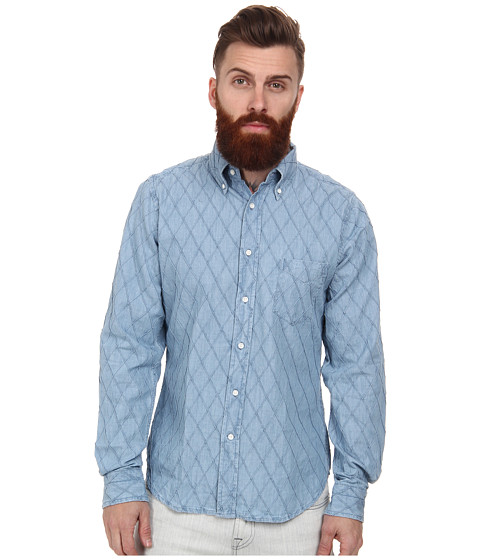Gant Rugger - R. Diamond Chambray Hobd (Light Indigo) Men's Long Sleeve Button Up