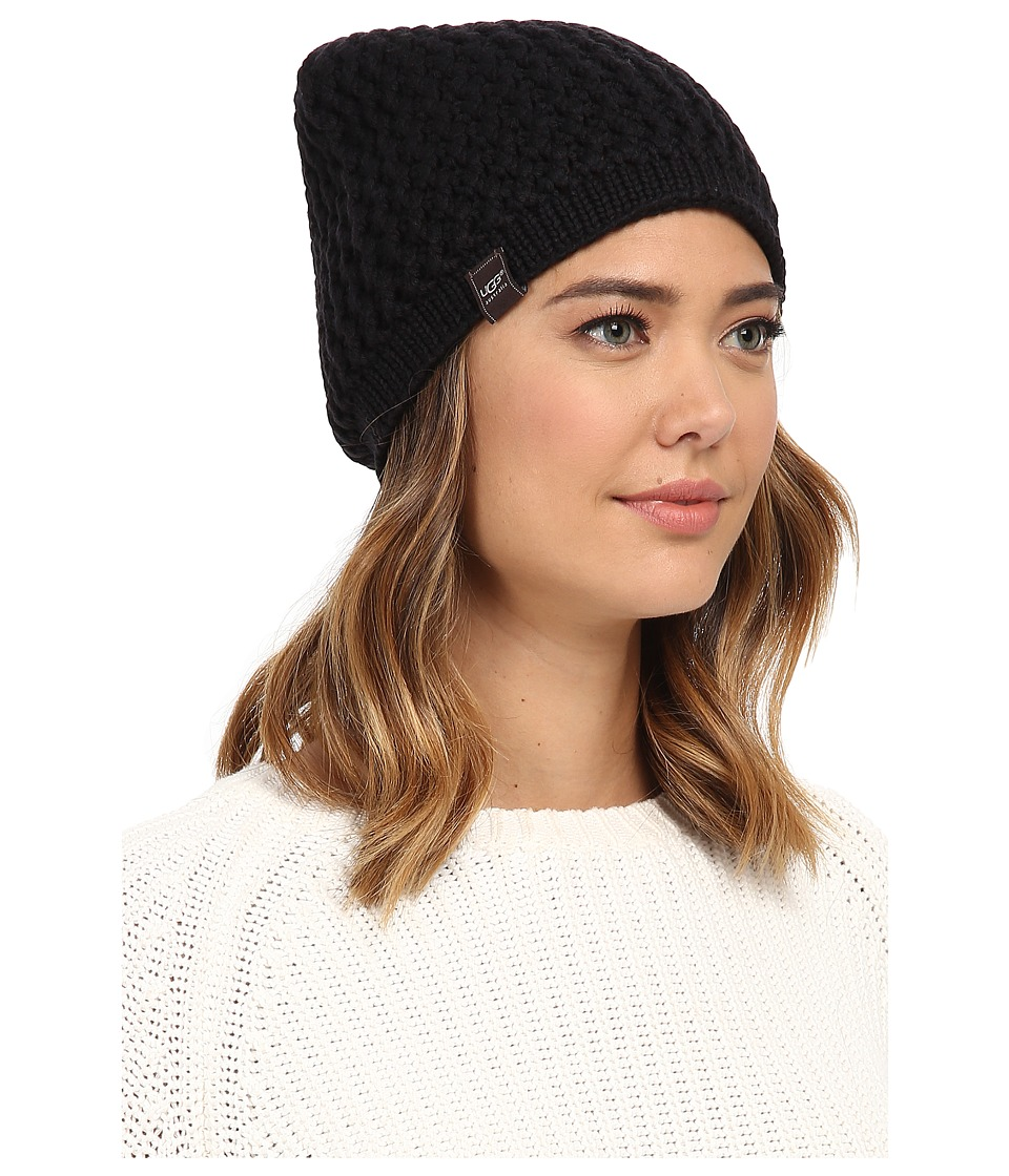 UGG - Sequoia Solid Knit Beanie (Black) Beanies