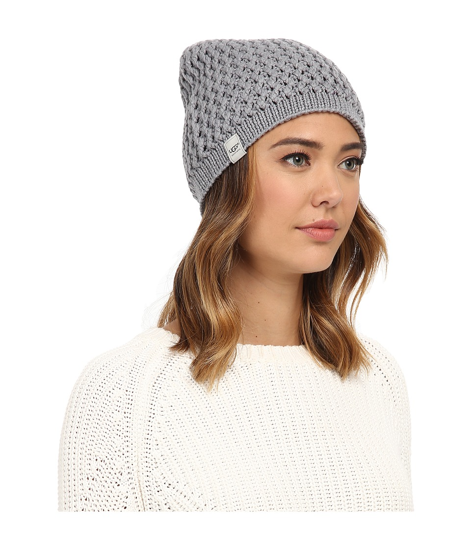 UGG - Sequoia Solid Knit Beanie (Grey Heather) Beanies