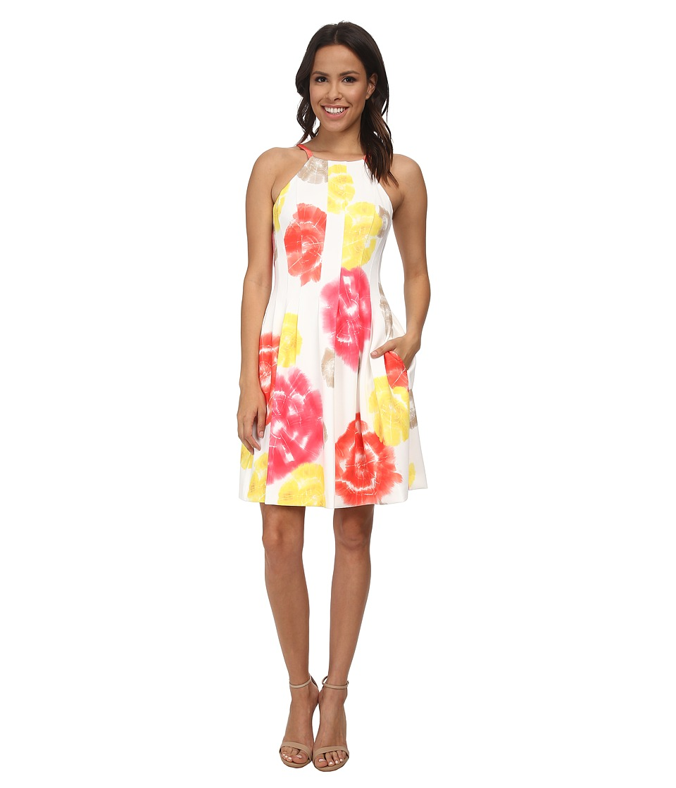 Calvin Klein - Print Scuba Halter Dress (Watermelon/Soft White) Women