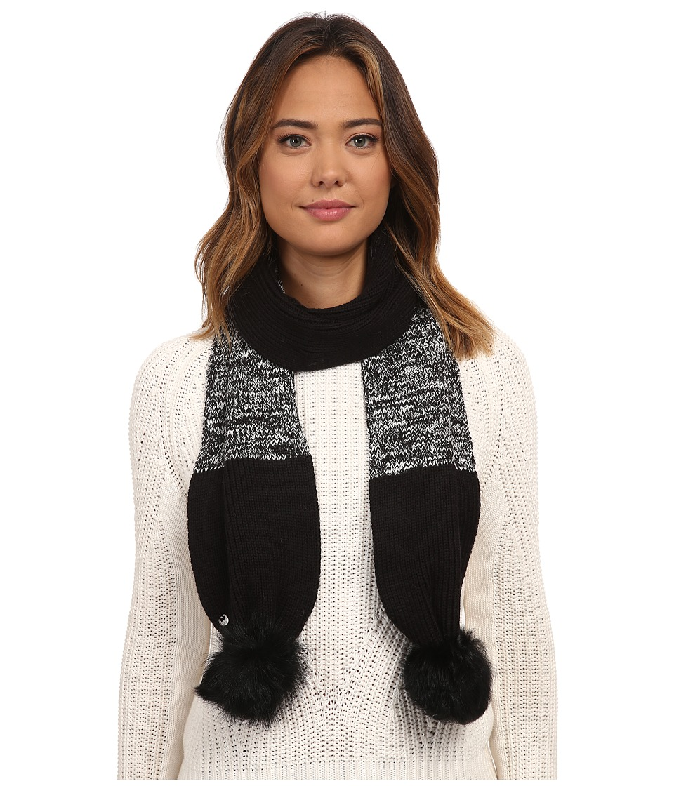 UGG - Classic Marled Scarf w/ Sequins and Fur Pom (Black Multi) Scarves
