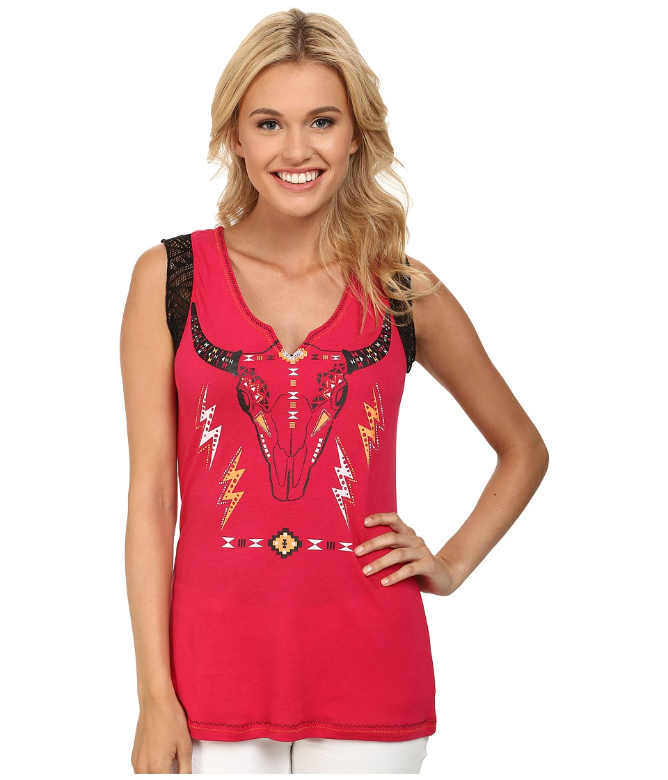 Cruel - Racer Back Jersey Tank Top Lace (Fuchsia) Women