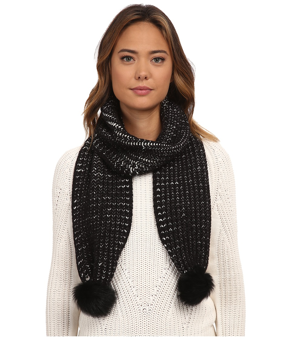 UGG - Reversible Cardy Scarf w/ Fur Poms (Black Multi) Scarves