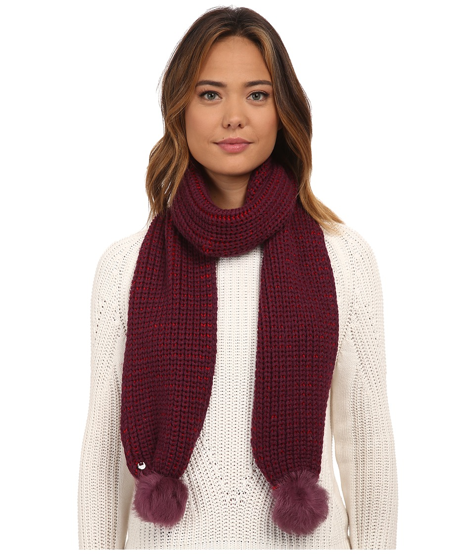 UGG - Reversible Cardy Scarf w/ Fur Poms (Aster Multi) Scarves