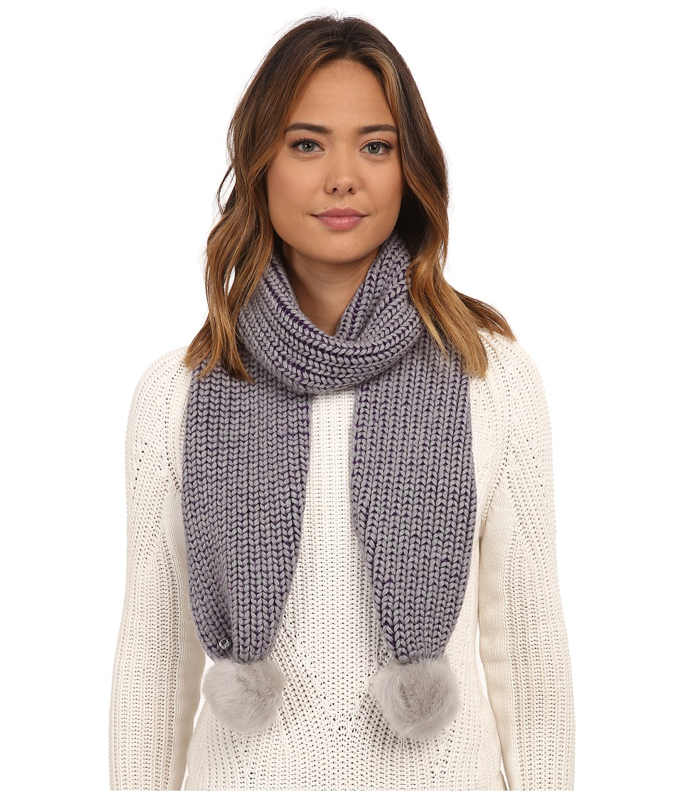 UGG - Reversible Cardy Scarf w/ Fur Poms (Grey Heather Multi) Scarves
