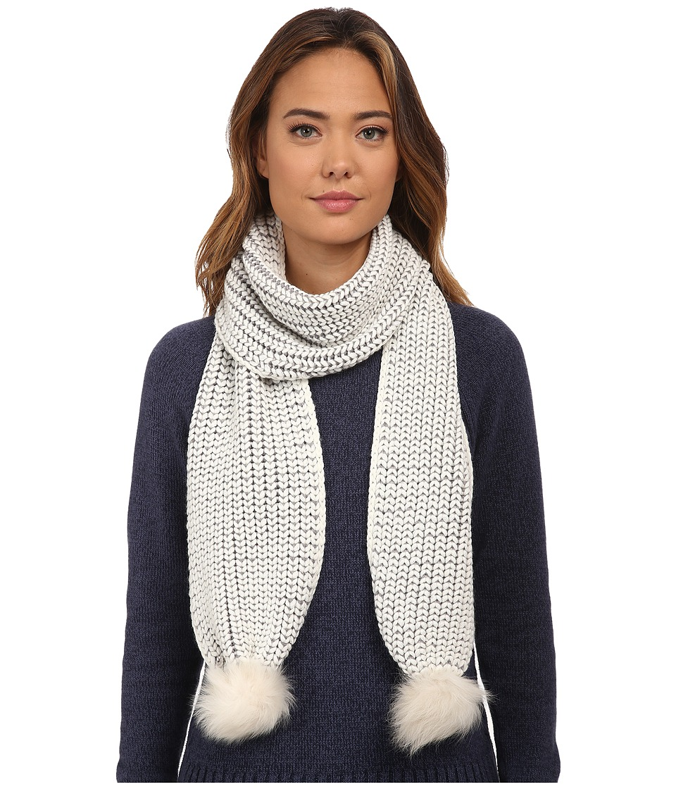 UGG - Reversible Cardy Scarf w/ Fur Poms (Cream Multi) Scarves