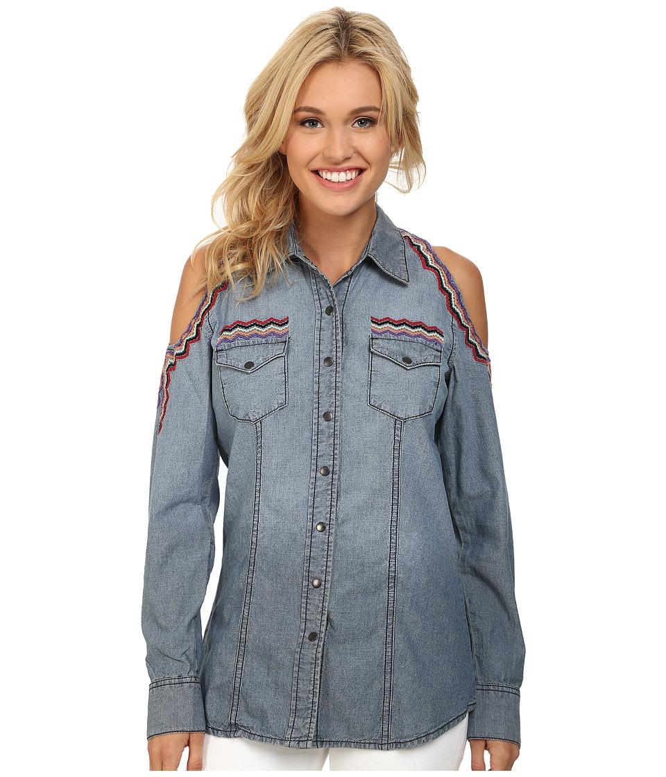 Cruel - Denim Shirt Cold Shoulder (Indigo) Women's Long Sleeve Button Up