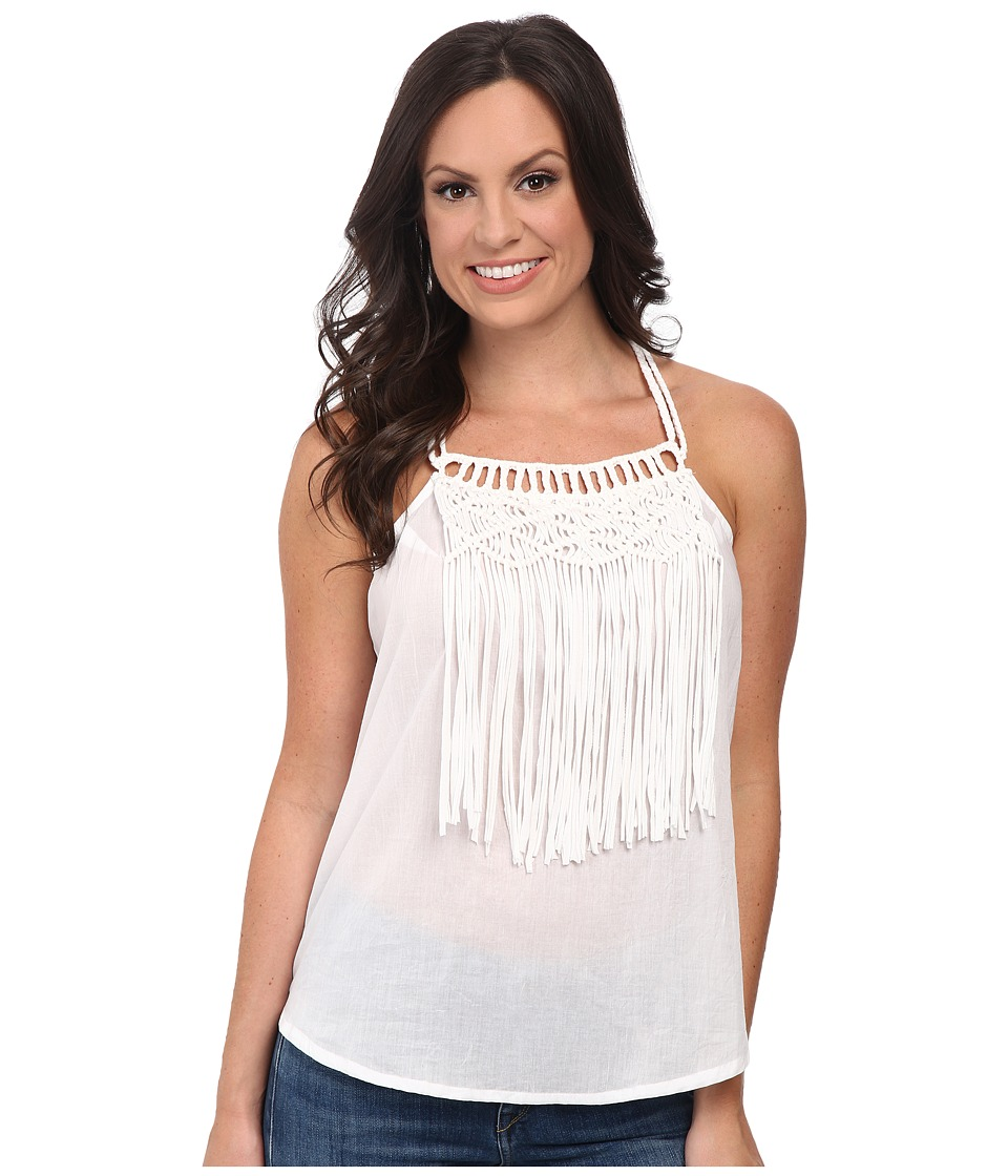 Cruel - Woven Tank Top Macrame and Fringe (White) Women's Sleeveless