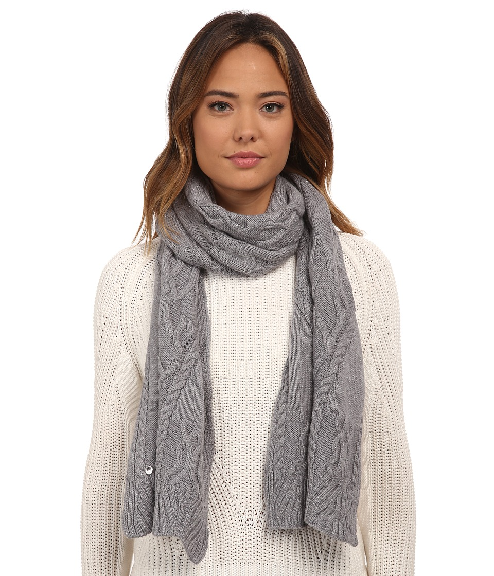 UGG - Isla Lurex Cable Scarf (Grey Heather Multi) Scarves