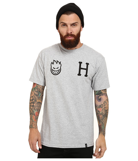 HUF - X Spitfire Logo Tee (Gray Heather) Men