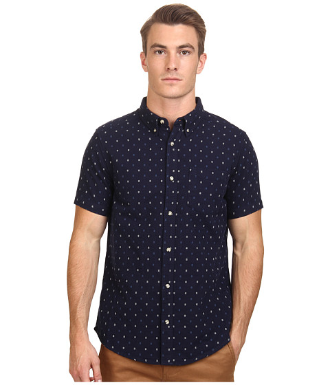 Deus Ex Machina - Belbin Short Sleeve Shirt (Indigo) Men's Clothing