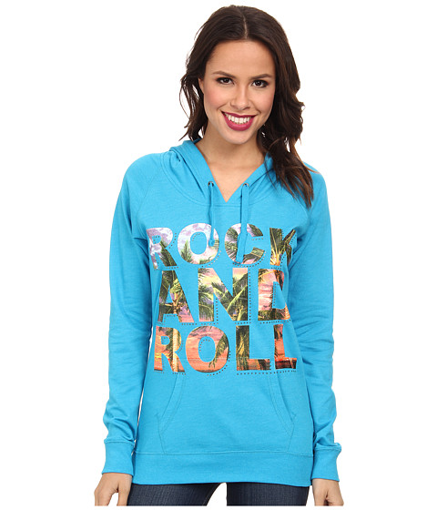 Rock and Roll Cowgirl - Long Sleeve Knit with Hood (Bright Turquoise) Women