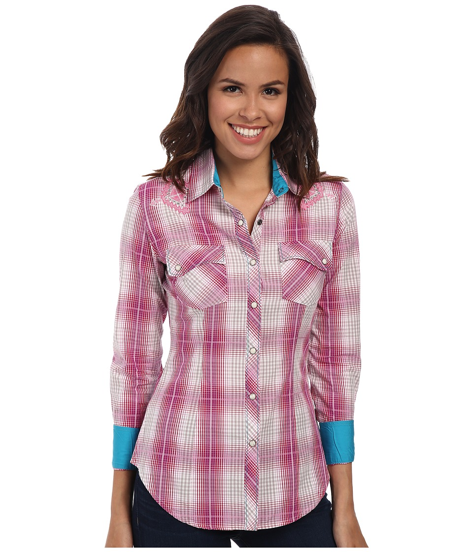 Rock and Roll Cowgirl - Long Sleeve Snap (Hot Pink) Women's Clothing