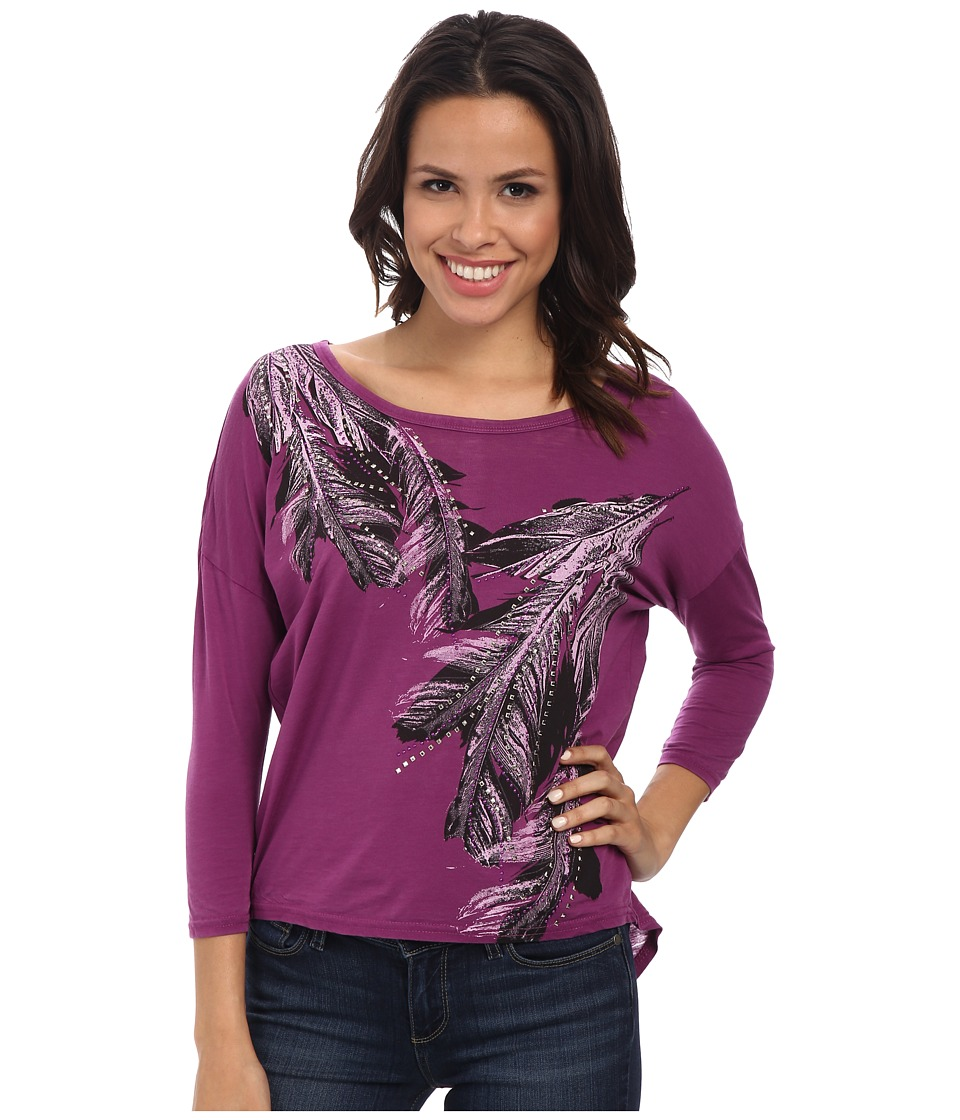 Rock and Roll Cowgirl - 3/4 Dolman Knit (Dark Orchid) Women's Clothing