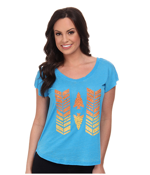 Rock and Roll Cowgirl - Short Sleeve Boxy Tee (Bright Turquoise) Women's T Shirt