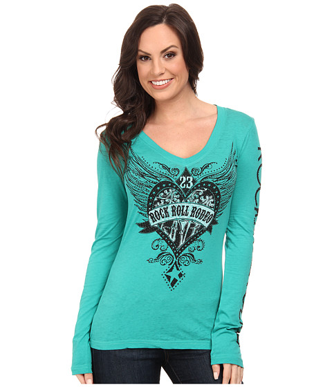 Rock and Roll Cowgirl - Long Sleeve T-Shirt (Bright Teal) Women