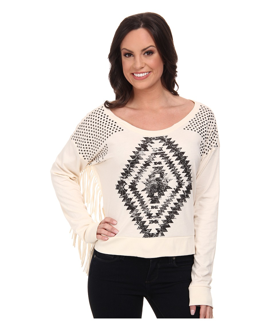 Rock and Roll Cowgirl - Long Sleeve Sweater (Natural) Women's Sweater