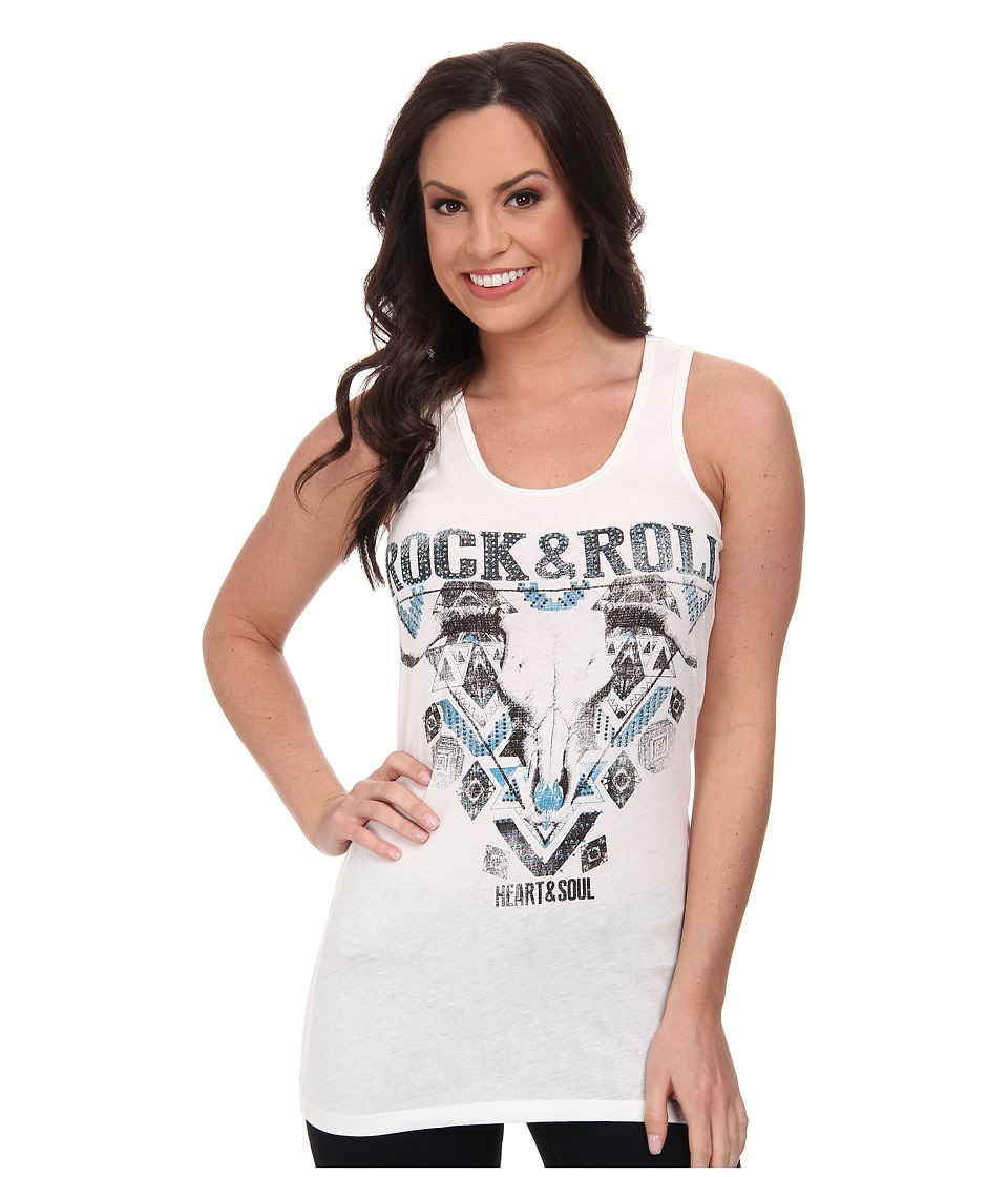 Rock and Roll Cowgirl - Knit Tank Top (Off White) Women's Sleeveless