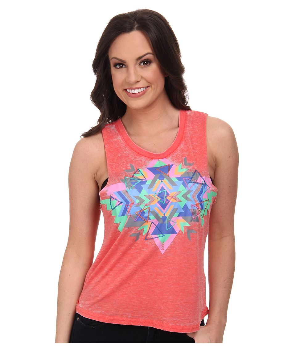 Rock and Roll Cowgirl - Knit Tank Top (Coral) Women's Sleeveless