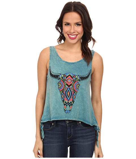 Rock and Roll Cowgirl - Knit Tank Top (Bright Turquoise) Women's Sleeveless