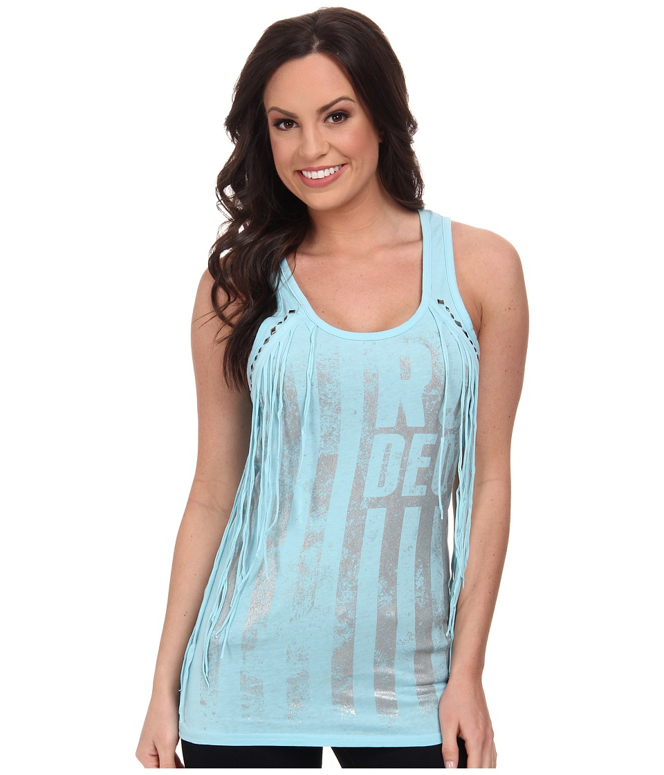 Rock and Roll Cowgirl - Knit Tank Top (Pale Turquoise) Women's Sleeveless