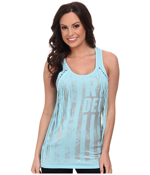 Rock and Roll Cowgirl - Knit Tank Top (Pale Turquoise) Women