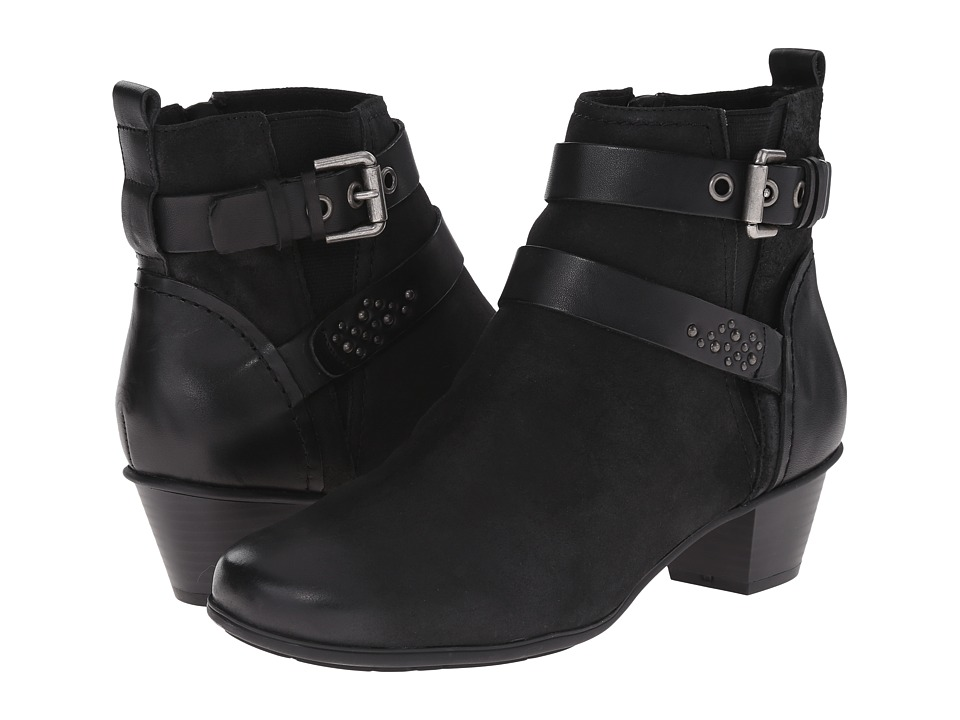 Rockport - Total Motion Amy Strap Bootie (Black Pull Up Leather) Women's Zip Boots