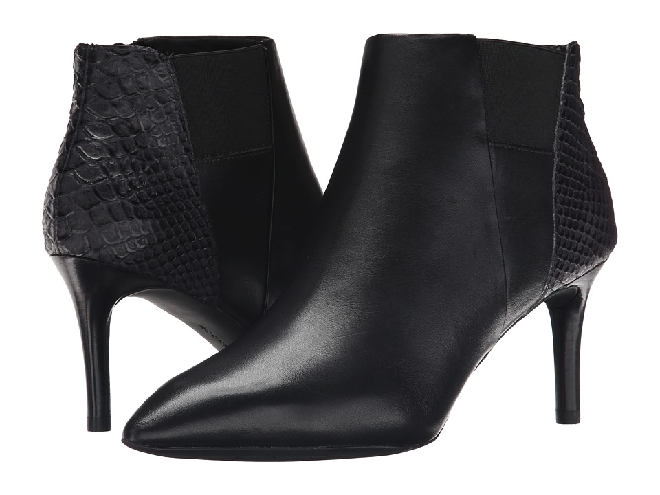 Rockport - Total Motion 75mm Pointy Toe Layer Bootie (Black Burn Calf/Snake Emboss) Women's Boots