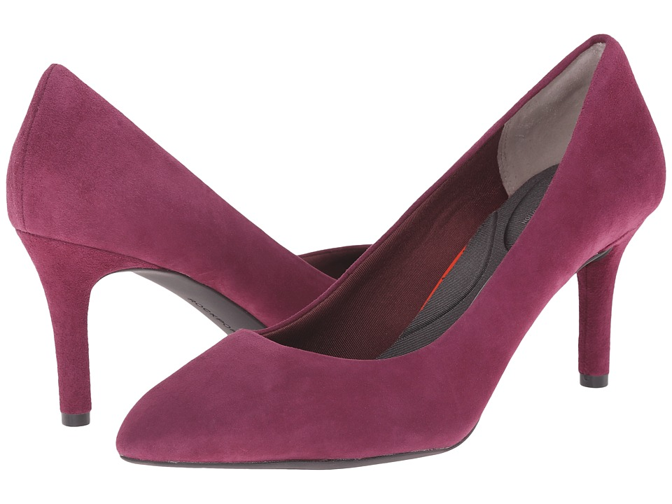 Rockport - Total Motion 75mm Pointy Toe Pump (Mauve Wine Kid Suede) High Heels