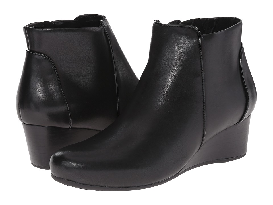 Rockport - Total Motion 45mm Wedge Bootie (Black Burn Calf) Women's Zip Boots