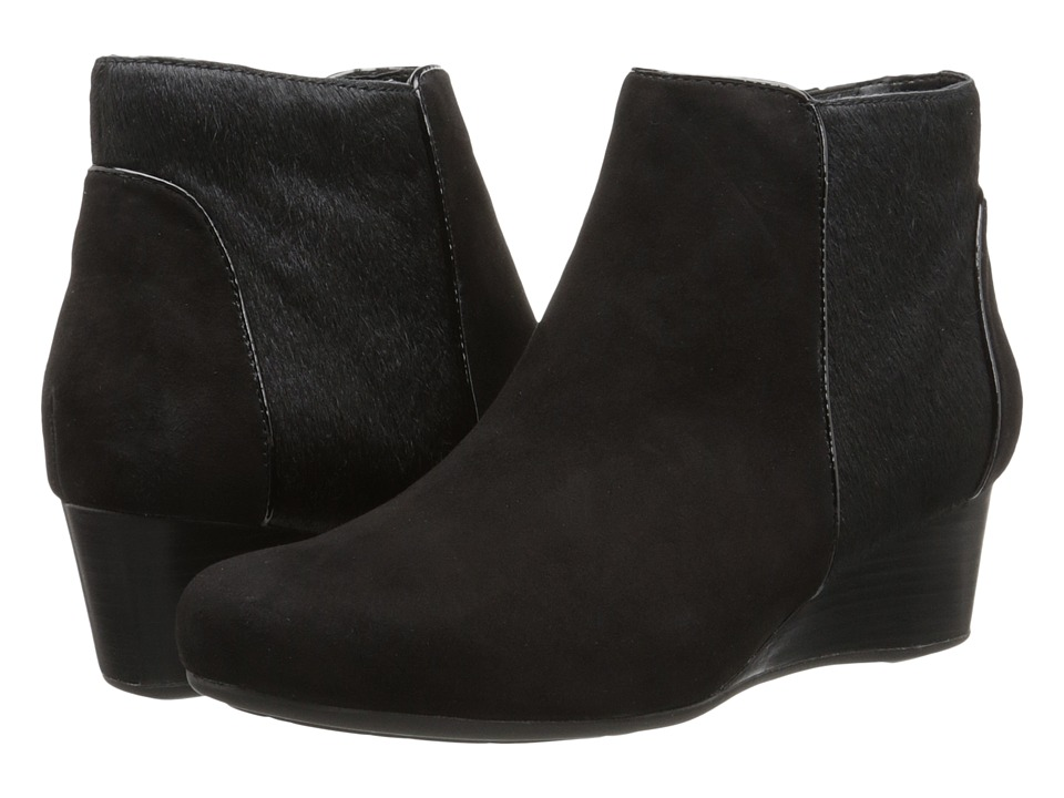 Rockport - Total Motion 45mm Wedge Bootie (Black Kid/Hair On) Women's Zip Boots