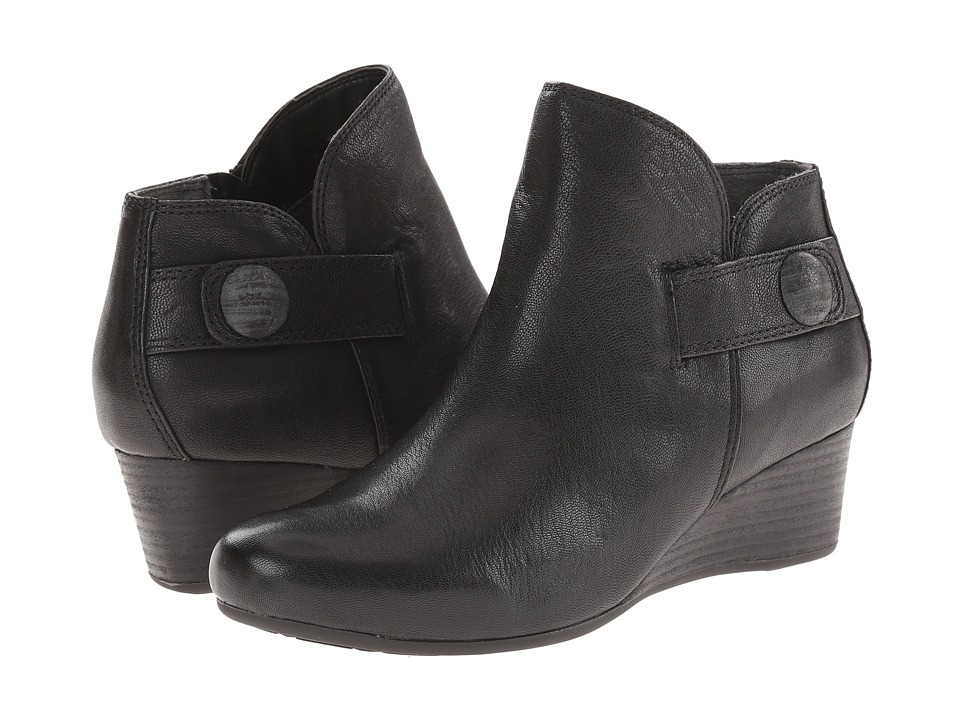 Rockport Total Motion 45mm Wedge Stone Bootie (Black Dist Goat) Women