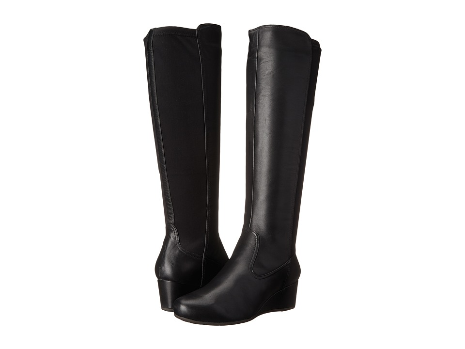 Rockport - Total Motion 45mm Wedge Tall Boot (Black Soft Tumble) Women's Boots