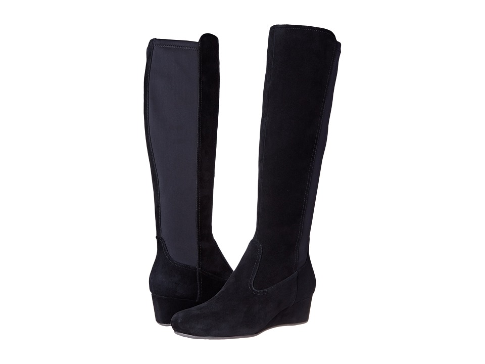Rockport - Total Motion 45mm Wedge Tall Boot (Black Kid Suede) Women's Boots