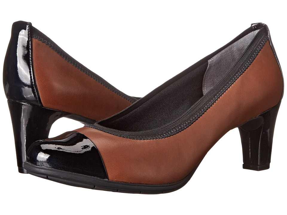 Rockport - Total Motion Melora Gore Cap Toe (Black/Nutella Burn Calf) Women's Shoes