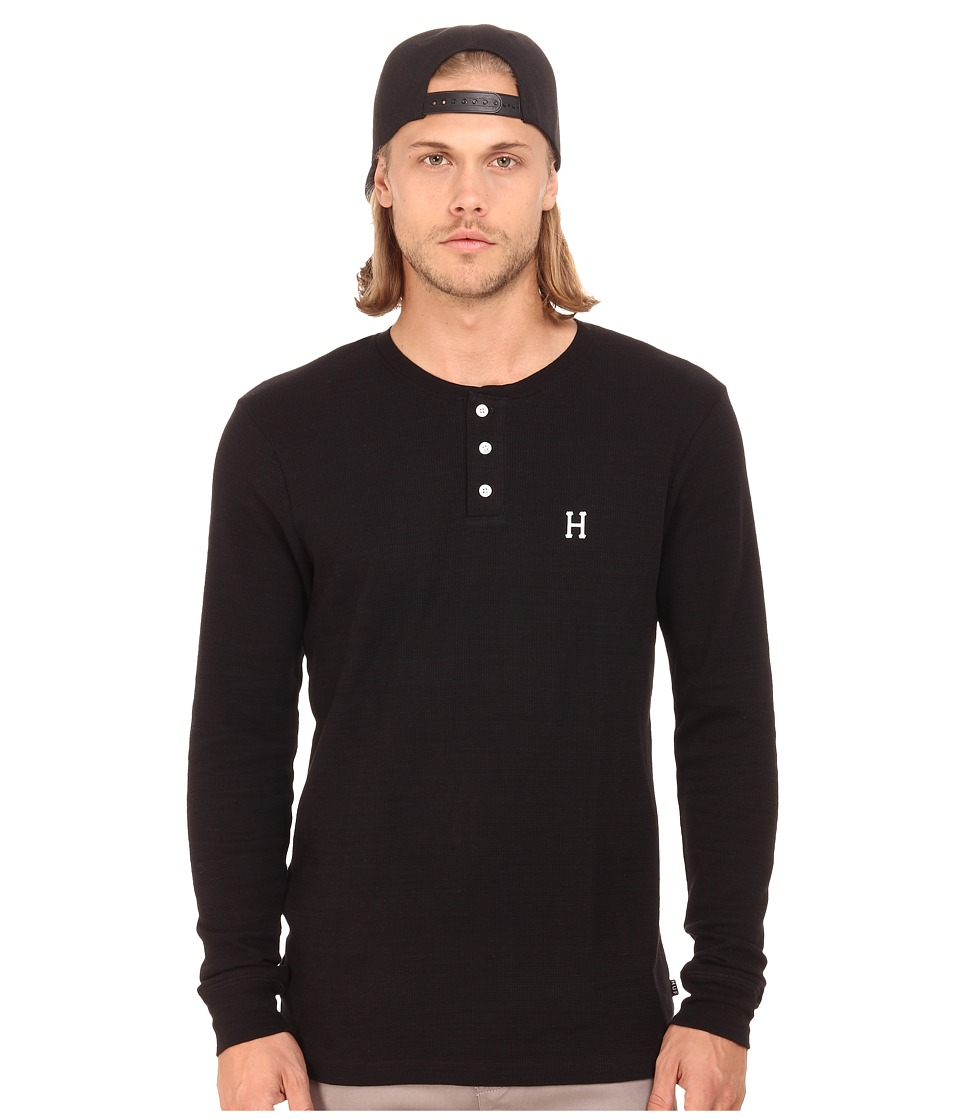 HUF - Barrier Long Sleeve Henley (Black) Men's Long Sleeve Pullover