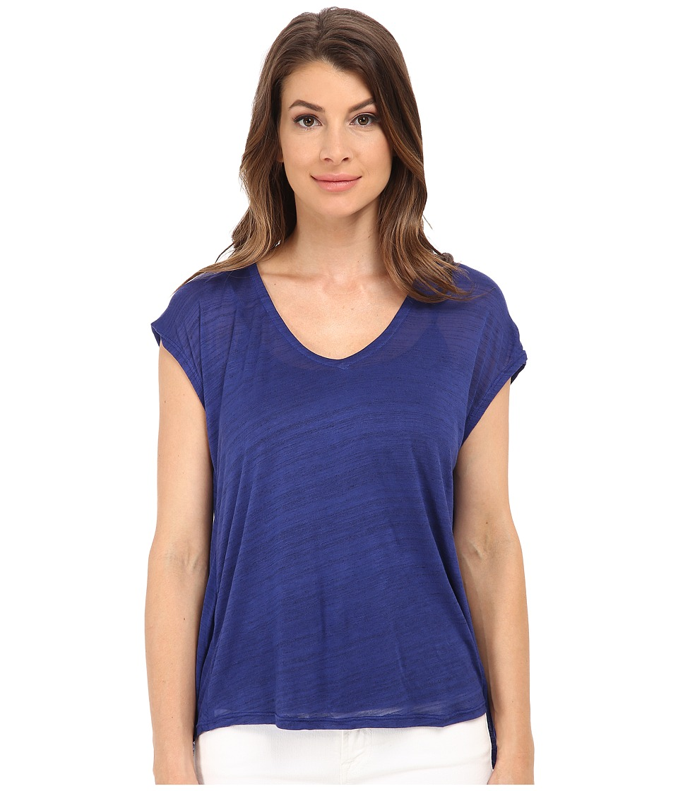 Splendid Space Dye Luxe V Back Tee (Deep Royal) Women