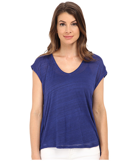 Splendid - Space Dye Luxe V Back Tee (Deep Royal) Women