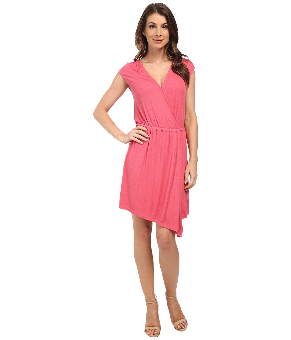 Splendid Ribbed Wrap Dress (Desert Rose) Women